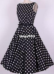 Wholesale vintage bridesmaid dresses wedding guest wear online uk fashion black white polka dot cotton xl xl xl xl large sizes