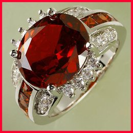 Wholesale Crystal Ruby Red Oval Cut Topaz Gemstone Top Quality Wedding Lady Finger Rings for Evening Prom Party Size Bridal Bridesmaid