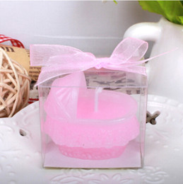 10pcs Pink Baby carriage Pram Candle For Wedding Party Birthday Souvenirs Gifts Favor Packaged with PVC