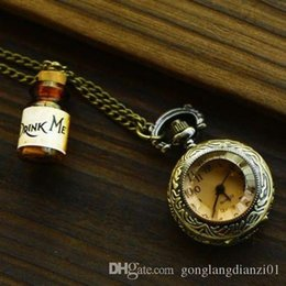 Wholesale HOT SALE Alice in Wonderland DRINK ME Bottle Necklace with Retro Pocket Watch