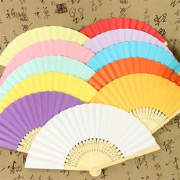 Wholesale Summer Chinese Hand Paper Fans Pocket Folding Bamboo Fan Bamboo Ribs with Paper Body Handle Wedding Accessories