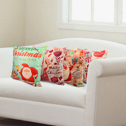 Wholesale-Christmas Printed 42x42cm alone pillowcase Linen Cushion For Decorative Pillow Cover Couch