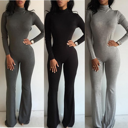 Wholesale Sexy Club Jumpsuits Hot Fashion Women Wide Leg Club Party Jumpsuit Sexy Black Gray Long Sleeve Turtleneck Bodycon Rompers