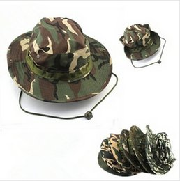 Wholesale outdoor hat camouflage military jungle hats Camo Fisherman Hats With Wide Brim Sun Fishing Bucket Hat Camping Hunting Hat LJJD2795