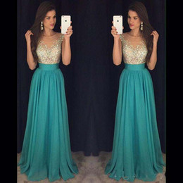 Prom Dresses 2016 Evening Dresses Sexy See Through Ruffled Waist Beaded Long Party Dresses Wedding Ball Gowns with Crystals