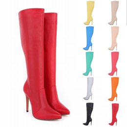 Womens Leather Pointed Toe High Heels Autumn Winter Mid Calf Knee Wide Leg Stretch Boots US Size 4-11 769-3MA