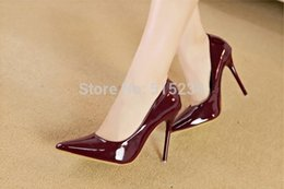 Wholesale-Fashionable women wine red pointed toe high heel shoes shallow mouth Sexy nightclub Pumps