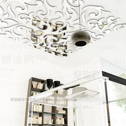 Wholesale Hot Fashion Europe ceiling mirror paper mirror stickers Tile stickers d wall stickers