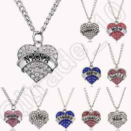 Promotion pendeloques de cristal 200PCS HHA668 Coeur de diamant lettres de la famille Collier mère fille nana Colliers bleu blanc pendeloques de cristal bijoux de mode rose