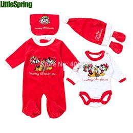 Wholesale Christmas baby clothing set baby winter festival cute PC merry Christmas long sleeves coat romper hat gloves bib suits