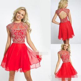 Wholesale Sheer Ivory Prom Dresses - Charming Sexy A Line Cherry Chiffon Open Back Short Prom Dresses Beaded Crew Neckline Sleeveless Cute Mini Formal Party Dresses