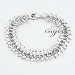 13mm New Fashion Jewelry Mens Womens Centipede Link Chain 18K White Gold Filled Bracelet Gold Jewellery Free Shipping C04 WB