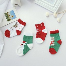 Wholesale Christmas Santa Claus Gifts For To12 Months Old Babys Candy Color Cotton Socks Snowman Snowflake Cute Sock