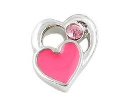 Wholesale 20PCS Pink Heart Alloy Floating Locket Charms Fit For DIY Magnetic Glass Living Memory Locket Best Gift