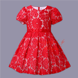 European And American Style Girls Dress Short Sleeve Red Lace Kids Dress With O-Neck Wholesale Children Clothes GD80908-152F