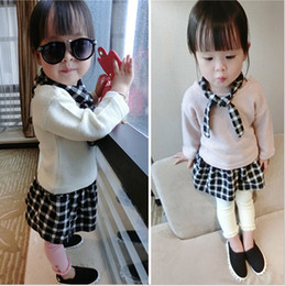 Wholesale Girls Clothing Sets Autumn Kids Leisure Suits With Cute Collar Knitting Shirt Plaid Skirt Baby Clothes Set Set Fit Age T1284