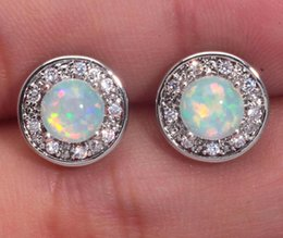 Wholesale-Beautiful Pleasantly Surprised Wholesale Jewelry White Fire Opal Zircon 925 Silver Stamp Earrings 10mm OH1902