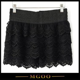 Wholesale MGOO Special Design Black Cream Yellow High Waist Stretch Women Lace Shorts For Summer With Layers Lace