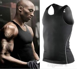 Tops sport homme sans manches à vendre-Hommes PRO Sports Fitness Vest Basketball Formation Vest Collant Sweat absorbant Tight sans manches T-shirt Débardeurs Collant Vêtements Summer Vest