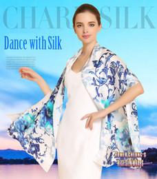 Mejores bufandas de moda en Línea-El mejor Qulity de seda grande 100% del resorte 100% del mantón de la bufanda del invierno de la muchacha de la nueva manera del envío con los pájaros imprimió 69X21inch