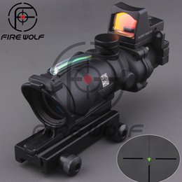 Wholesale 2015 New Trijicon TA31 ACOG Style X32 Real Fiber Source Duel Illuminated Sight Scope RMR Micro Red or Green Fiber