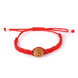 Wholesale Adjustable Red String Lucky Bracelet with Walnut Heart Teen Girls Gift Good Fortune
