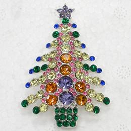 Wholesale Beautiful Crystal Rhinestone Christmas tree Pin Brooch Christmas gifts Brooches C680