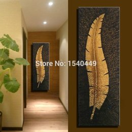 Wholesale Hand Painted Modern Abstract Lucky Gold Leaf Oil Painting Large Canvas Art Cheap Wall Decor Single Pictures for living room