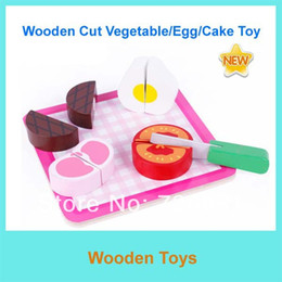 Wholesale-Free Shipping Educational Toys Wooden Cutting Fruits  Cake Vegetable Toys AM144-1 Kitchen Toys Wooden Toys