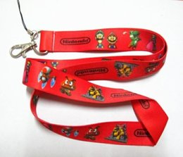 NeW 30 pcs Super Mario LANYARD Neck Strap metal clasp Pass Holder and cell phone cord
