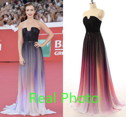 Wholesale Elie Saab Gradient Ramp Cheap two tone Bridesmaid Dresses Real Photo Strapless plus size Backless Maid of Honor Wedding Party Gown