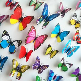 Wholesale 12PCS D Butterfly Stickers Card Making Stickers Wall Stickers PVC Crafts Butterflies Home Decorations Bedroom TV Background Art Wall Decal