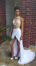 Women Two Piece Outfits Asymmetrical Prom Dresses High Neck Gold Beads White Chiffon Slit Sweep Train Party Dress Vestidos