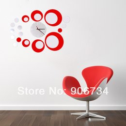 Wholesale Mirror Wall Clock d Crystal Mirror wall watches michael wall clocks Red Rounds Wall Clock Modern Design Luxury