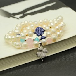 Wholesale Lapis Pearl Jewelry - The natural pearl bracelet Lapis Sterling Silver Bracelets ladies multilayer 925 silver jewelry wholesale manufacturers one generation