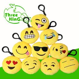 500 pcs 8cm Emoji Key Chains Soft Stuffed Plush Round Emoji Emoticon Pendant Soft Plush Toys Bags Pendants Key Rings by Fast Way DHL EMJ020