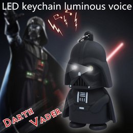 Wholesale Star Wars Darth Vader Keychains Accessories LED Luminous keychain colors lights Key rings cute Pendant Animation Star Wars pendant