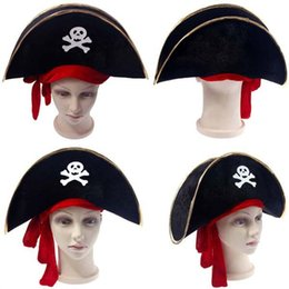 Wholesale Masquerade Supplies Props Cloth Pirate Top Party Decoration Birthday Hat Blue Gold With Red Ribbon Festival Hats