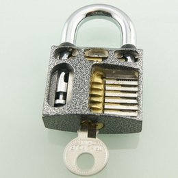 Wholesale Locksmith Beginner Cutaway inside view open chambers of Practice Padlock Lock training Skill Pick