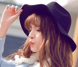 Wholesale-Winter Women Unisex Solid Color Wide Brim Bowler Wool Felt Jazz Cap Cow Boy Hat Wide Brim Wool Felt Hat Floppy Bowler Fedora Cap