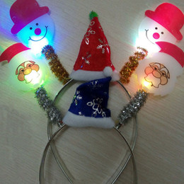 Wholesale Light Flashing Blinking LED Santa Claus Snowman Headband Christmas Fun Party Decoration Gift Led Rave Hair Accessories Toy