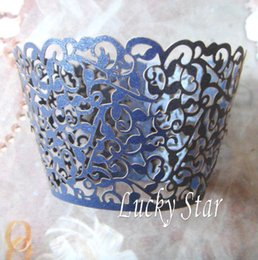 Wholesale Navy Blue Ivy Vine Laser cut Lace paper Cup Cake Wrapper Cupcake Wrapper FOR Wedding christmas Party