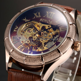 2017 montre hommes montres en gros Wholesale-Skeleton Watch Transparent Roman Number Watches Hommes Luxe Marque Mechanical Men Big Face Montre Watch Steampunk Montres-bracelets montre hommes montres en gros promotion