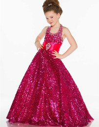 Wholesale Golden fuchsia Sequin Pageant Dresses For Little Girls Kids Ball Gown Evening Prom Party Dress Halter Vestido De Daminha Para Casamento