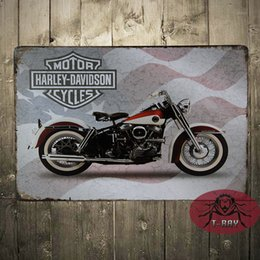 Wholesale Vintage Meatal Sign Motorcycle Oil Tin Double Sided Garage Pub Bar Home Wall Decor