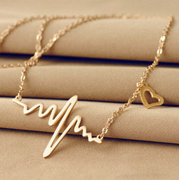 GoldSilver Pendant Necklac Jewelry Stainless Steel Unique Pendant Lifeline Pulse gift Pendant for women Heartbeat Rhythm Necklace