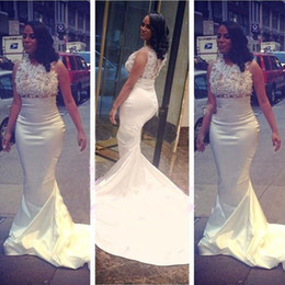 Sheer Lace Beaded Long Evening Dresses Crew capped Sleeve Custom Made Sweep train Vestidos White Formal Party Prom Gown 2016