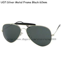 Wholesale 100pcs Top quality Mens Designer Outdoorsman Sunglasses Silver Frame Black Sun Glasses mm For Box And Case