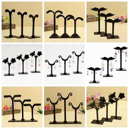 Wholesale set Acrylic Earring Ear Stud Jewelry Display Storage Stand Holder Rack Tree Hanger clear or black