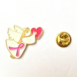 Wholesale New Pink Ribbon Lapel Pin Breast Cancer Awareness Angel with Heart quot Drop Shipping